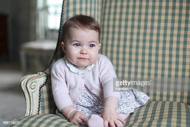 In this undated handout photo provided by HRH The Duchess of Cambridge Princess Charlotte of Cambridge is seen at Anmer Hall earlier this month taken...