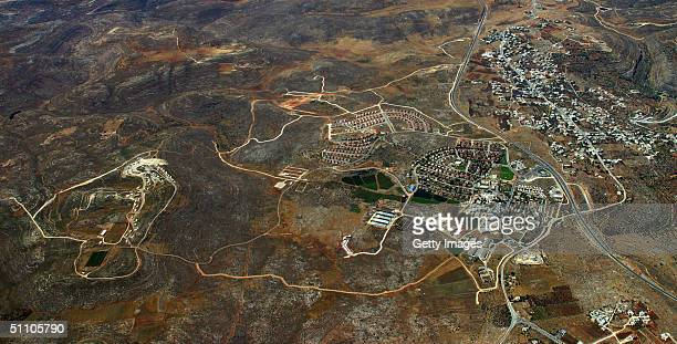 In this undated handout photo provided by the leftwing Israeli movement Peace Now and released July 22 2004 the West Bank Jewish settlement of Ofra...