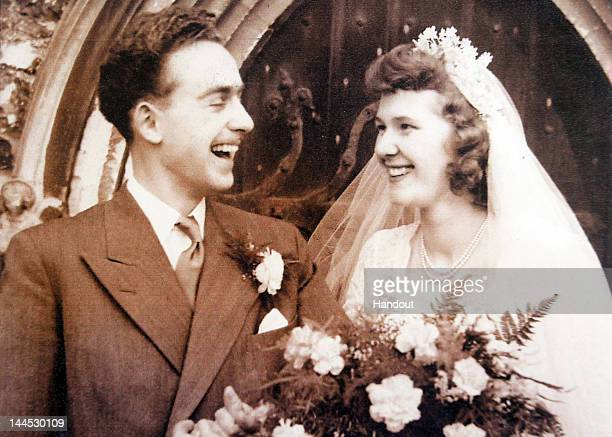 In this undated handout photo provided by the Sergeant family Cyril and Evelyn Sergeant both 86 smile on their wedding day which 60th anniversary...