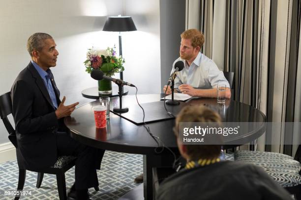 In this undated handout photo released by Kensington Palace courtesy of the Obama Foundation Prince Harry interviews former US President Barack Obama...