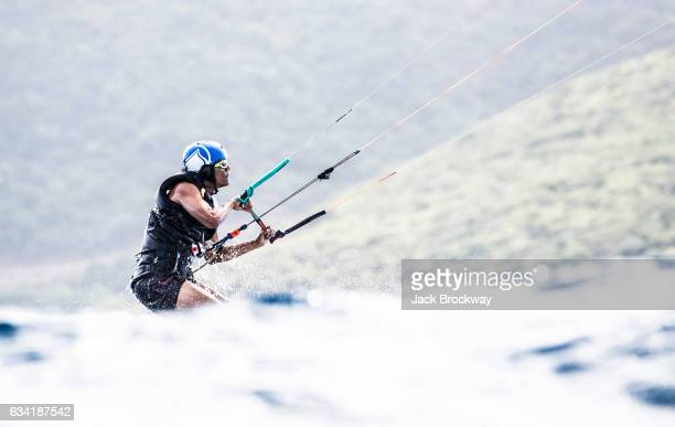 In this undated image former President Barack Obama kitesurfs at Richard Branson's Necker Island retreat on January 29 2017 in the British Virgin...