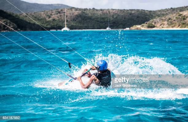 In this undated image former President Barack Obama kitesurfs at Richard Branson's Necker Island retreat on February 1 2017 in the British Virgin...