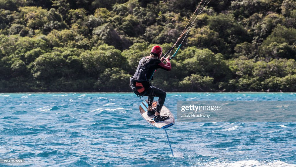 In this undated image Richard Branson kitesurfs while vacationing with Former President Barack Obama at Branson's Necker Island retreat on February 1, 2017 in the British Virgin Islands. Former President Obama and his wife Michelle have been on an extended vacation since leaving office on January 20.