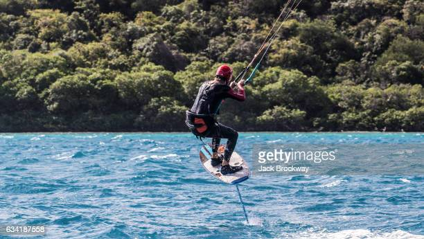 In this undated image Richard Branson kitesurfs while vacationing with Former President Barack Obama at Branson's Necker Island retreat on February 1...
