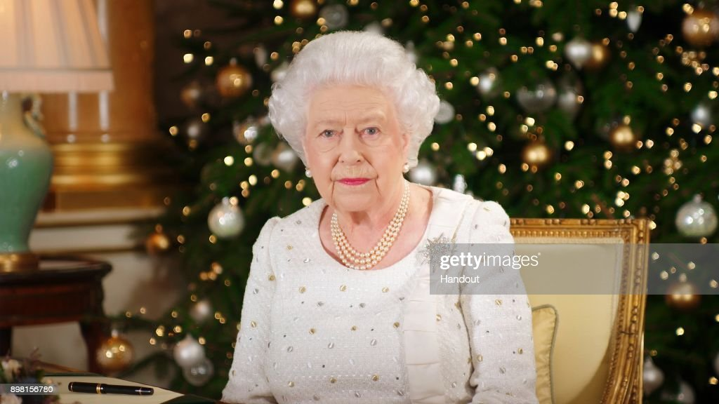 KINGDOM - In this undated image supplied by Sky News, Queen Elizabeth II sits at a desk in the 1844 Room at Buckingham Palace, as she records her Christmas Day broadcast to the Commonwealth at Buckingham Palace, London.