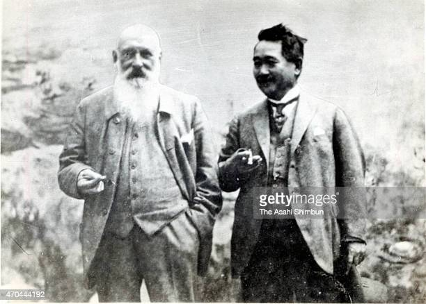 In this undated photo artist Claude Monet and Japanese businessman Kojiro Matsukata are seen at Monet's home in Giverny France
