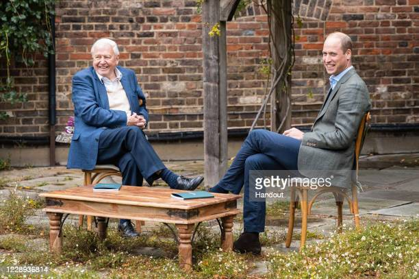 In this undated photo issued by Kensington Palace, Prince William, Duke of Cambridge and Sir David Attenborough discuss The Earthshot Prize at...
