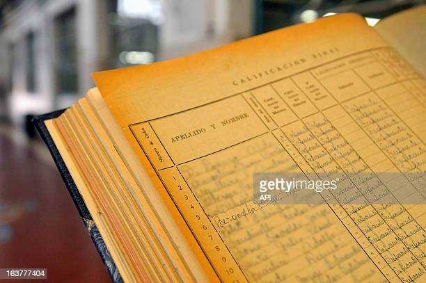 In this undated photo Jorge Mario Bergoglio's school records from school number 8 are displayed