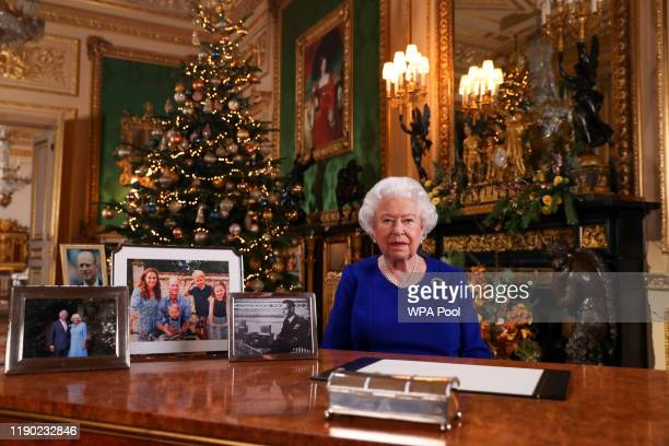 In this undated photo Queen Elizabeth II records her annual Christmas broadcast in Windsor Castle Berkshire England