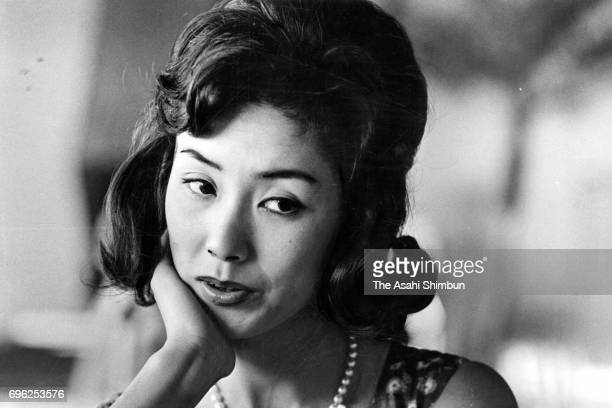 In this undated picture actress Yoko Nogiwa speaks during the Asahi Shimbun interview in Japan