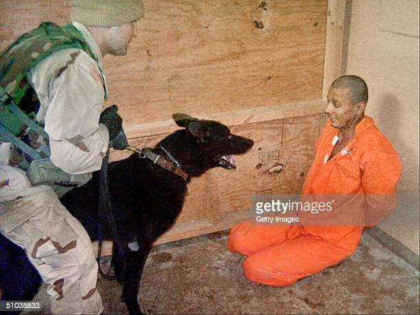 In this undated still photo an Iraqi detainee at Abu Ghraib Prison appears to be intimidated by a US soldier using an trained dog MANDATORY CREDIT