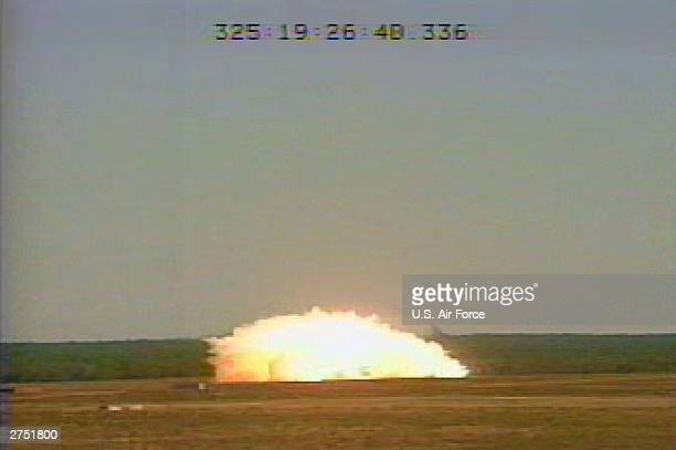 In this US Air Force handout a GBU43/B bomb or Massive Ordnance Air Blast bomb explodes November 21 2003 at Eglin Air Force Base Florida MOAB is a...