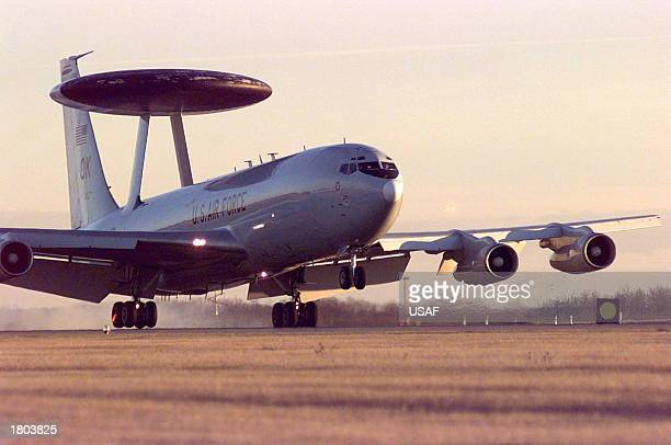 In this US Air Force handout photo an E3 Sentry airborne warning and control system lands on November 11 1997 at Cold Lake Canada The E3 Sentry is a...