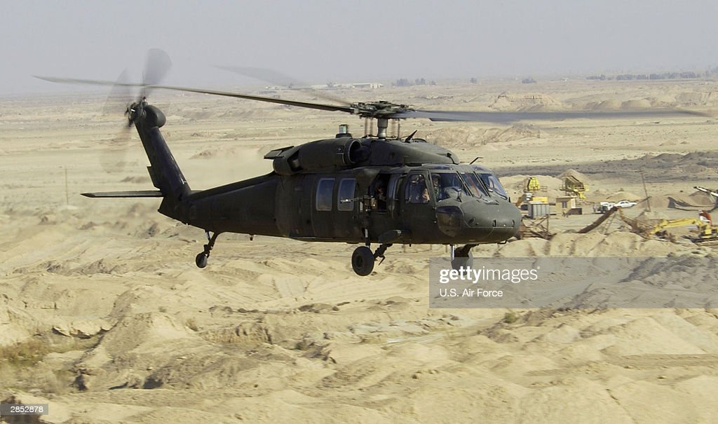 In this U.S. Air Force handout, UH-60L Blackhawk Helicopter flies a low level mission January 7, 2004 in Iraq.