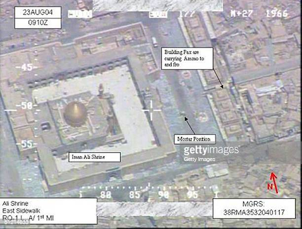 In this U.S. Central Command surveillance photo, militia mortar positions are seen outside the Najaf Shrine August 23, 2004 in Najaf, Iraq. Iraqi...
