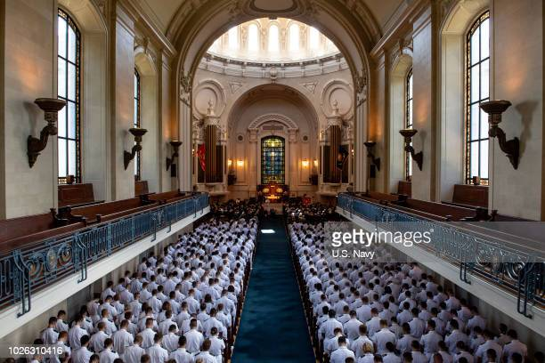In this US Navy handout the funeral service for the late Sen John McCain at the United States Naval Academy Chapel September 2 2018 in Annapolis...
