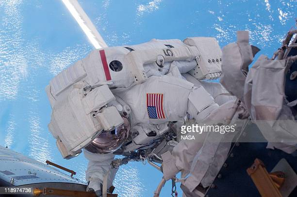 In this video screen grab provided by the National Aeronautics and Space Administration NASA astronaut Mike Fossum Expedition 28 flight engineer does...