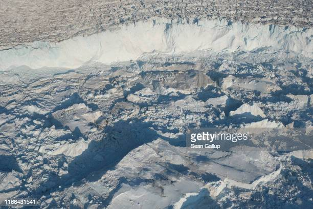 In this view from an airplane the Sermeq Kujalleq glacier also called the Jakobshavn glacier discharges ice into the Ilulissat Icefjord on August 04...