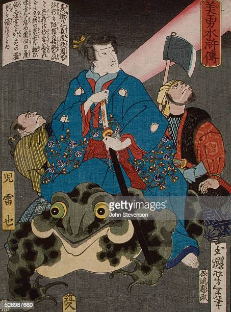 In this whimsical design from Yoshitoshi's early career a bandit rides on a toad which he has created from a rock through a magical spell The outlaw...