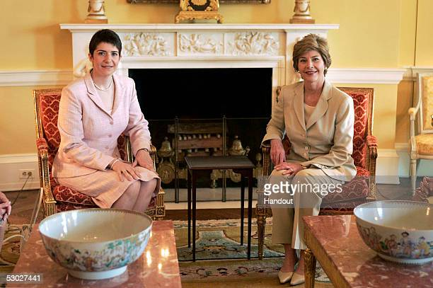 In this White House handout First lady Laura Bush meets with Klara Dobrev wife of Ferenc Gyurcsany the Prime Minister of Hungary in the Yellow Oval...