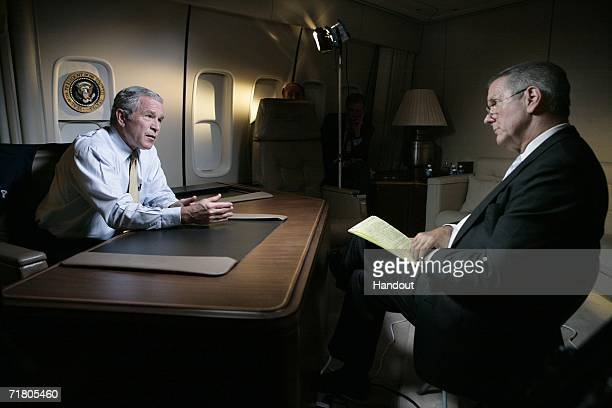 In this White House handout US President George W Bush is interviewed by ABC News anchor Charles Gibson September 7 2006 while flying to Atlanta...