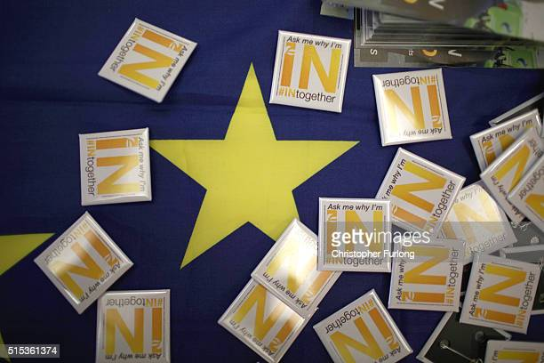 In Together campaign badges are displayed on a european flag during the Liberal Democrats spring conference on March 13 2016 in York England On the...