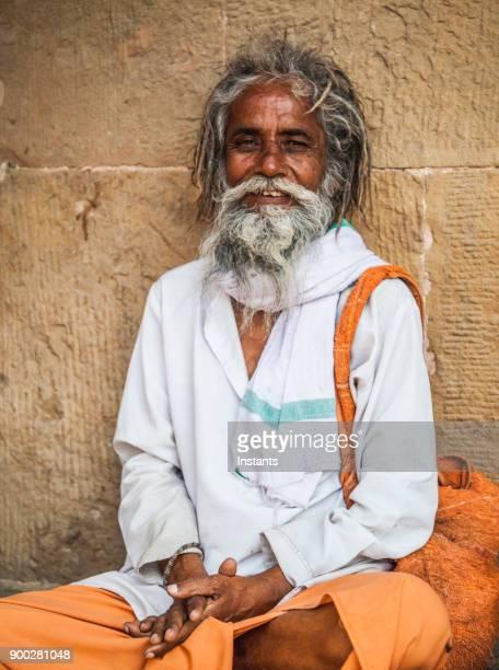 In Varanasi, smiling sadhu looking at the camera.