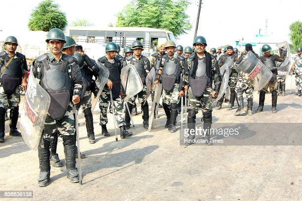 In view of verdict of Dera Sacha Sauda chief Gurmeet Ram Rahim Singh police force prepared to deal with law and order situation on August 25 2017 in...