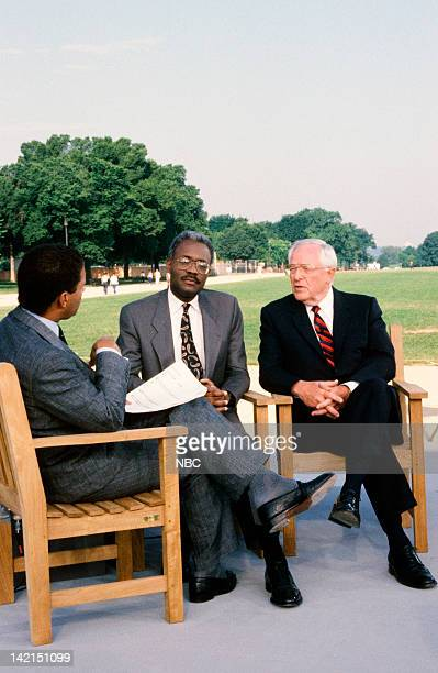 TODAY TODAY in Washington DC 1990 Pictured NBC News' Bryant Gumbel The National Rainbow Coalition's DC Statehood Project's Fred Cooke Jr Congressman...