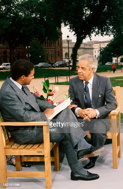 TODAY TODAY in Washington DC 1990 Pictured NBC News' Bryant Gumbel Virginia Governor Douglas Wilder during an interview on location from the National...