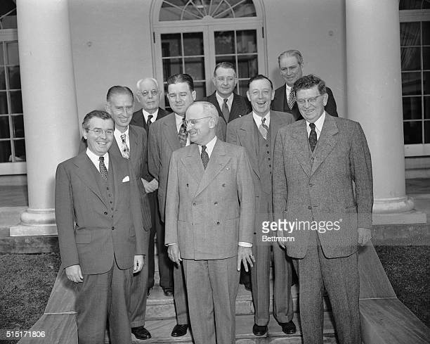 In Washington to testify before the CAA a group of Mayors called on President Truman as shown here Left to right are Mayor Thomas A Burke Jr of...