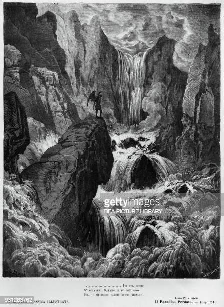 In with the River sunk and with it rose Satan involv'd in rising Mist then sought Where to lie hid illustration for Book IX of Paradise Lost epic...