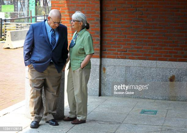 Ina and David Steiner wait for their attorney Rosemary Curran Scapicchio after they talked to the media behind the John Joseph Moakley United States...