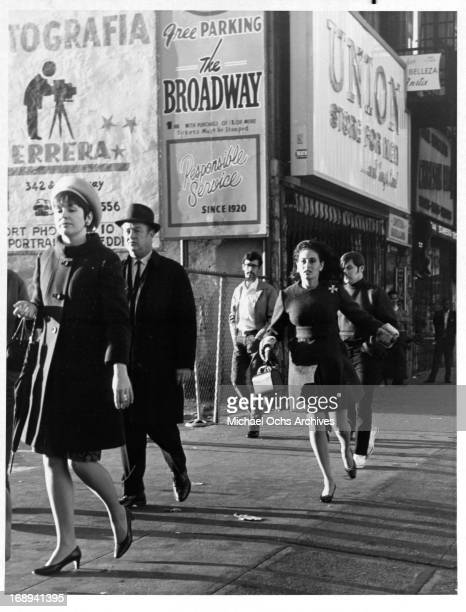Ina Balin runs down the street in a scene from the tv movie 'The Lonely Profession' 1969