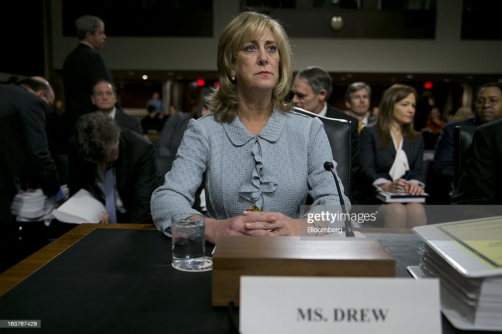 Ina Drew, former chief investment officer with JPMorgan Chase & Co., arrives to a Senate Permanent Subcommittee on Investigations hearing in Washington, D.C., U.S., on Friday, March 15, 2013. JPMorgan Chase, the biggest U.S. bank by assets, compensated chief investment office traders in a way that encouraged risk-taking before the unit amassed losses exceeding $6.2 billion, a Senate committee said. Photographer: Andrew Harrer/Bloomberg via Getty Images