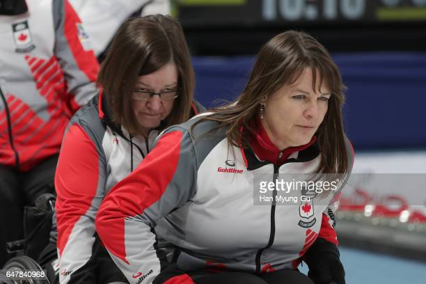 Ina Forrest from Canada delivers a stone during the World Wheelchair Curling Championship 2017 test event for PyeongChang 2018 Winter Olympic Games...
