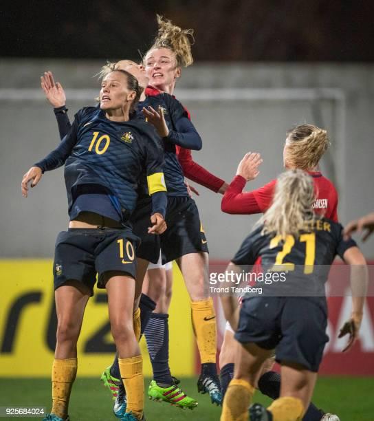 Ina Gausdal Ingvild Isaksen of Norway Emily Van Egmond Ellie Carpenter of Australia during Algarve Cup between Australia v Norway on February 28 2018...