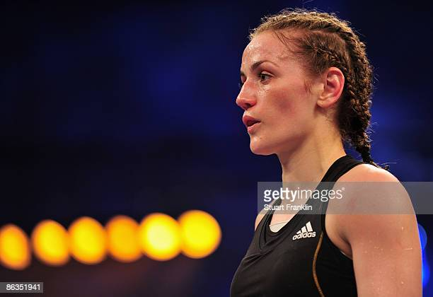 Ina Menzer of Germany during the WIBF and WBC World Championship featherweight fight against Franchesca Alcanter of USA at the Universum Champions...