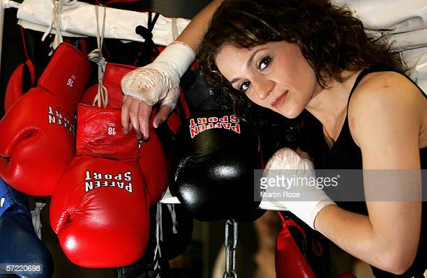 Ina Menzer of Germany poses during the photocall on March 30 2006 in Hamburg Germany The WIBF Featherweight Championship fight between Ina Menzer of...