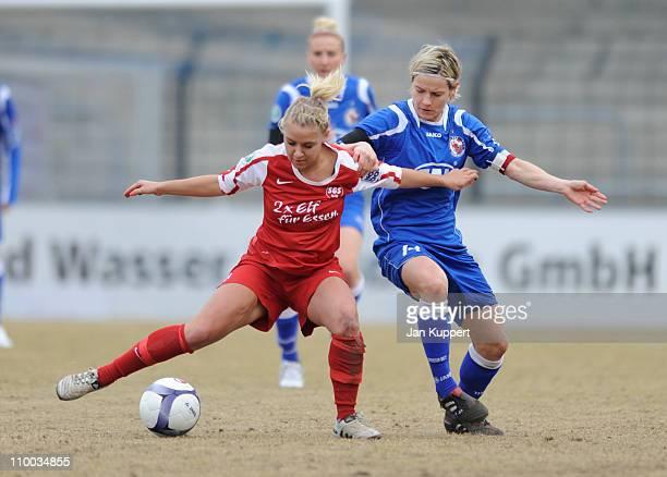 Ina Mester of Essen and Jennifer Zietz of Potsdam battle for the ball during the Women Bundesliga match between Turbine Potsdam and Essen-Schoenebeck...