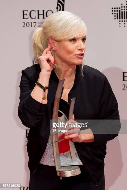 Ina Mueller poses with her award during the ECHO German Music Award in Berlin Germany on April 06 2017