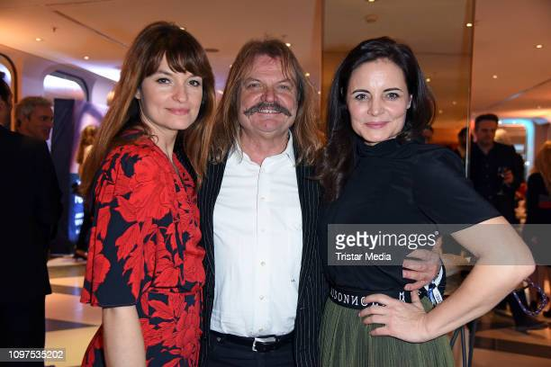 Ina Paule Klink, Leslie Mandoki and Elisabeth Lanz attend the Movie Meets Media party during 69th Berlinale International Film Festival at Hotel...
