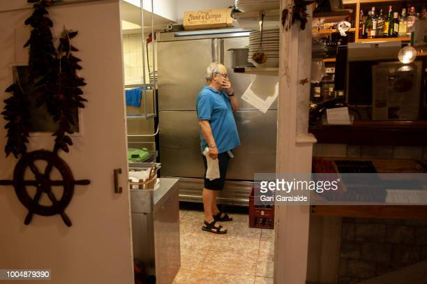 Inaki Berges coowner of The Restaurante Hermandad de Pescadores in the kitchen on July 20 2018 in Hondarribia Spain The restaurant became famous when...