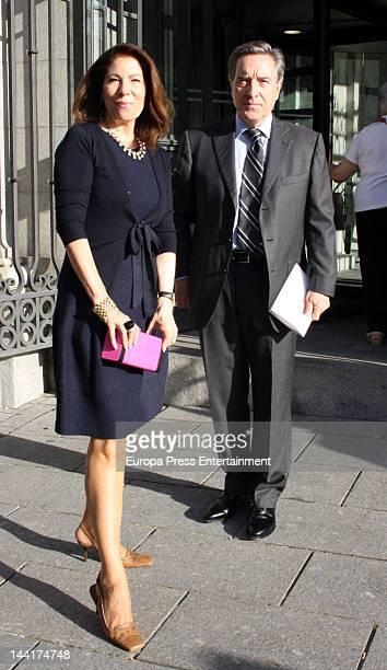 Inaki Gabilondo and Lola Carretero are seen leaving 'Cyrano de Bergerac' Opera at Teatro Real on May 10 2012 in Madrid Spain