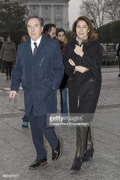 Inaki Gabilondo and Lola Carretero are seen leaving opera 'Tristan and Isolde' by Richard Warner on January 12 2014 in Madrid Spain