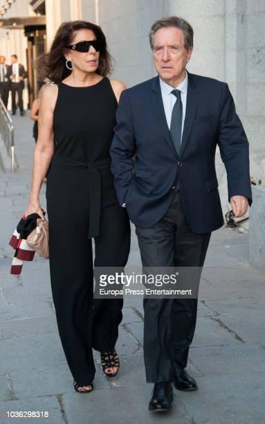Inaki Gabilondo and Lola Carretero arrive at Royal Theatre on September 19 2018 in Madrid Spain