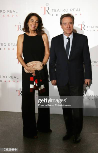 Inaki Gabilondo and Lola Carretero attend 'Fausto' opera during the opening of the Royal Theatre new season on September 19 2018 in Madrid Spain