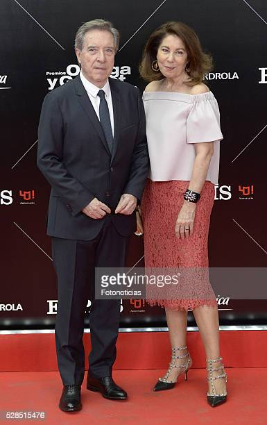 Inaki Gabilondo and Lola Carretero attend the El Pais 40th anniversary dinner and 'Ortega y Gasset' awards ceremony at the Palacio de Cibeles on May...