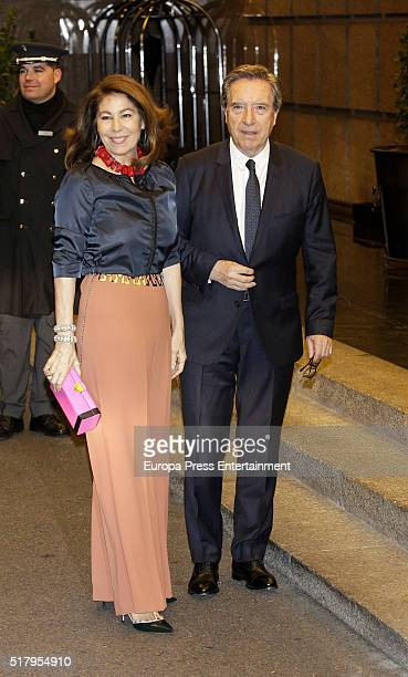 Inaki Gabilondo and Lola Carretero attend the Mario Vargas Llosa 80th birthday party on March 28 2016 in Madrid Spain