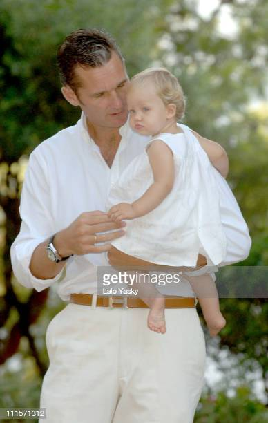 Inaki Urdangarin and baby Irene during Royal Family Photo Session in Mallorca Spain August 8 2006 at Marivent Palace in Palma de Mallorca Spain